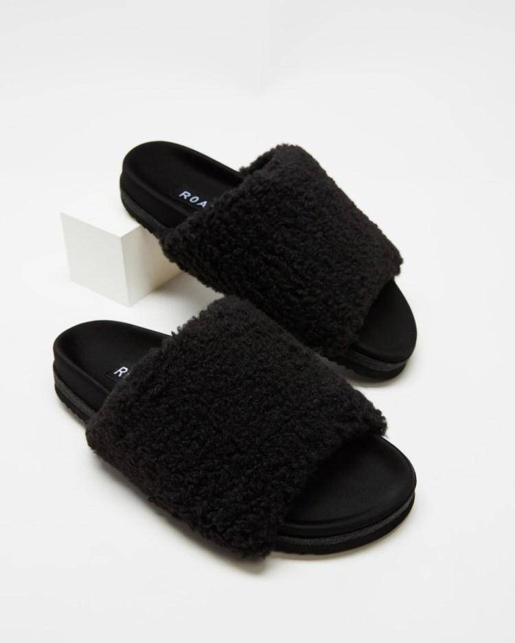 Roam Fuzzy Sliders Slippers & Accessories Black
