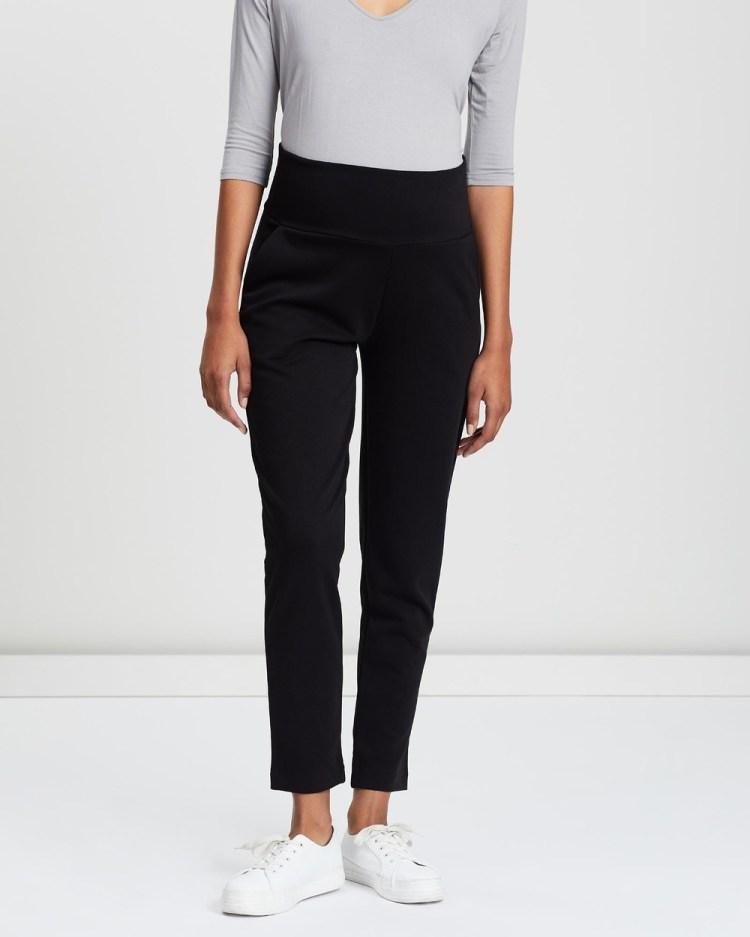 Angel Maternity Soft Ponti Relax Fit Full Length Pants Black