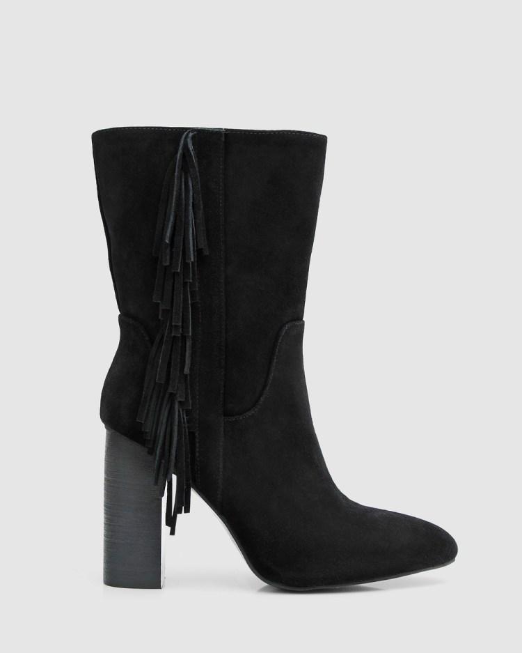Belle & Bloom Walk The Line Tassel Boot Heels Black