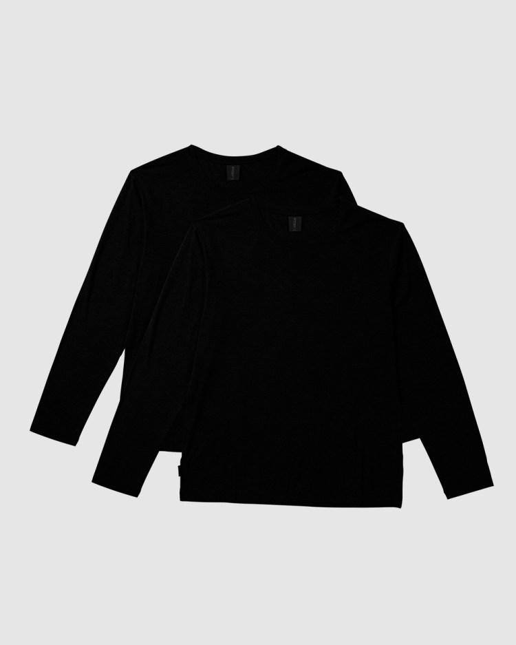 Boody Organic Bamboo Eco Wear 2 Pack Long Sleeve Crew Neck T Shirt T-Shirts Black T-Shirt