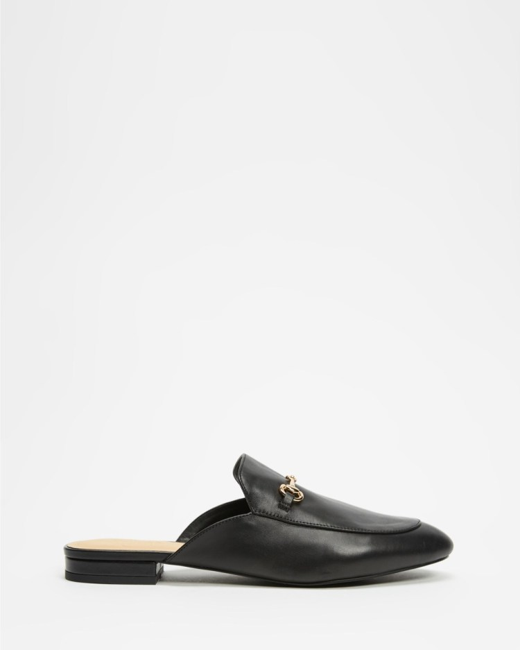 Atmos&Here Georgina Leather Mules Flats Black Leather