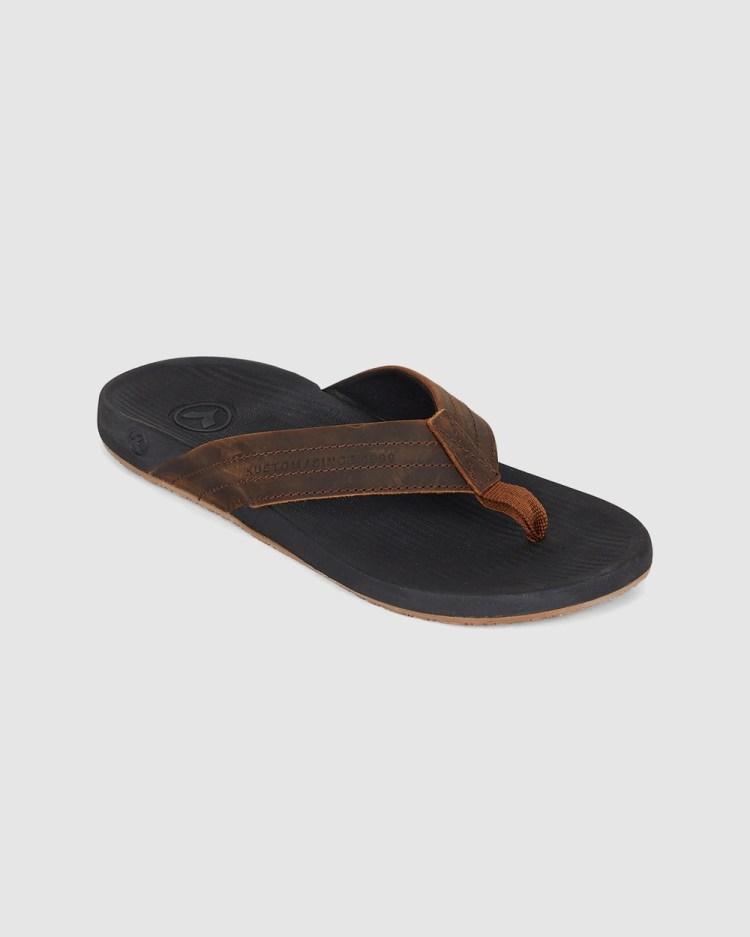 Kustom Cruiser Leather Thong Sandals BLACK/BROWN