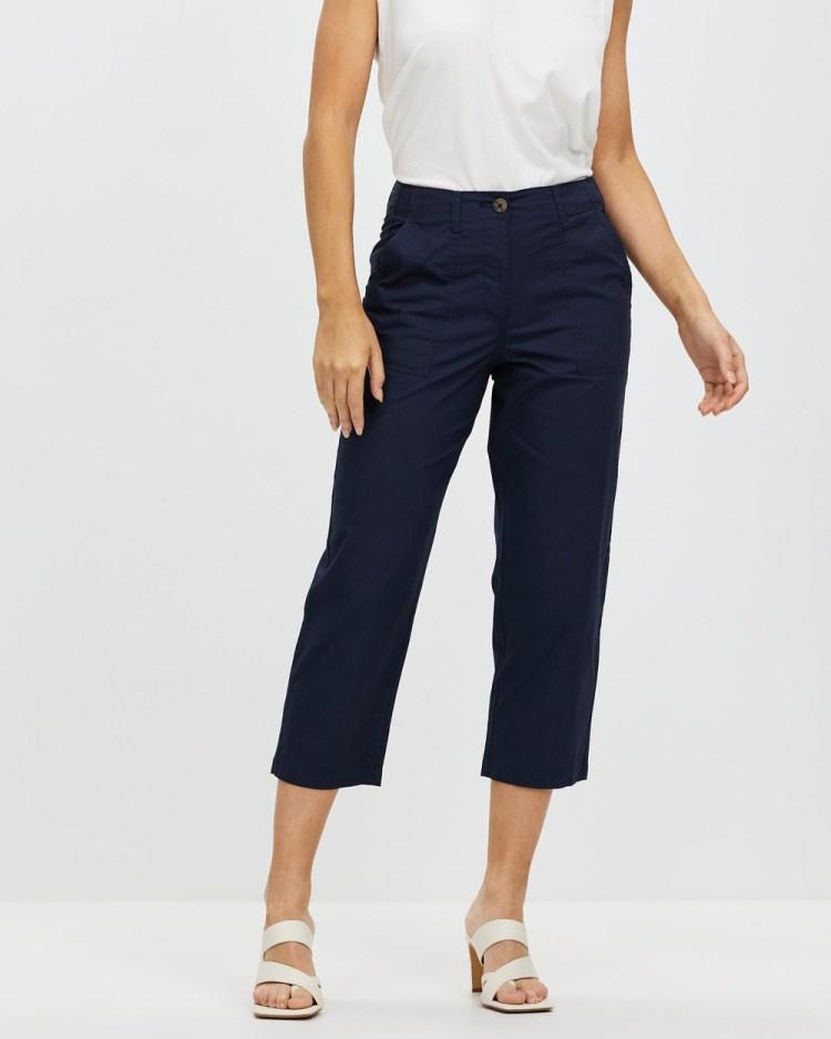 Dorothy Perkins Poplin Crop Pants Navy Blue