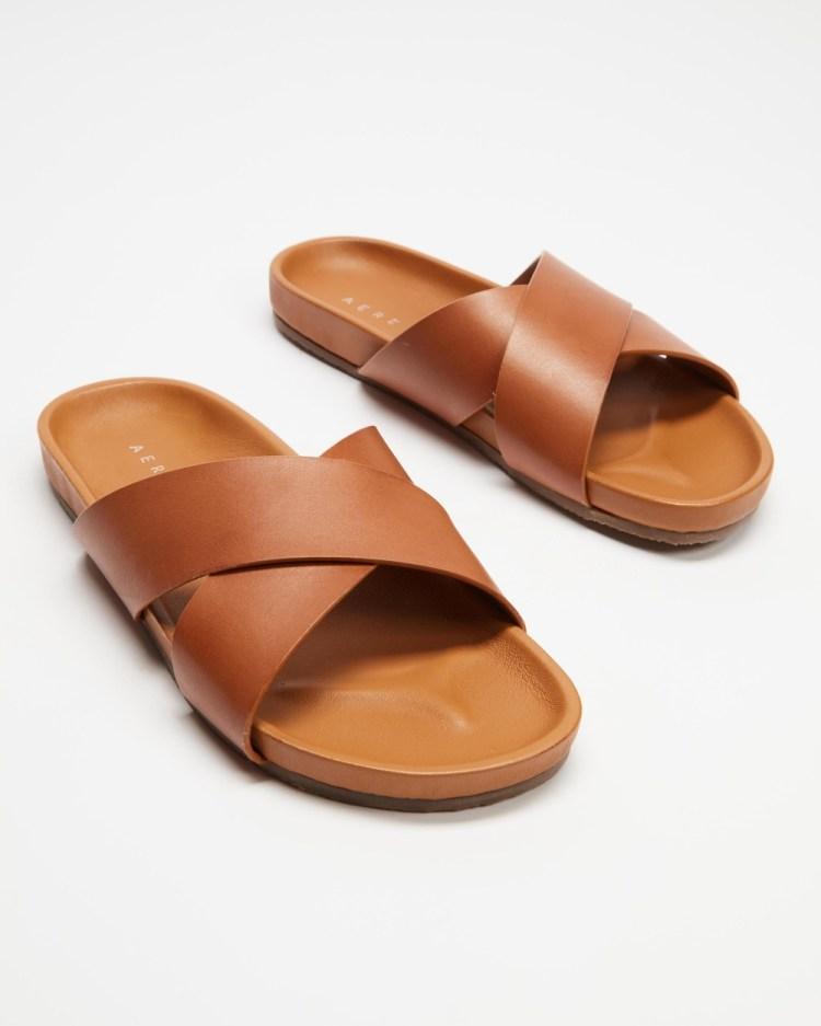 AERE Brunswick Leather Slides Shoes Tan