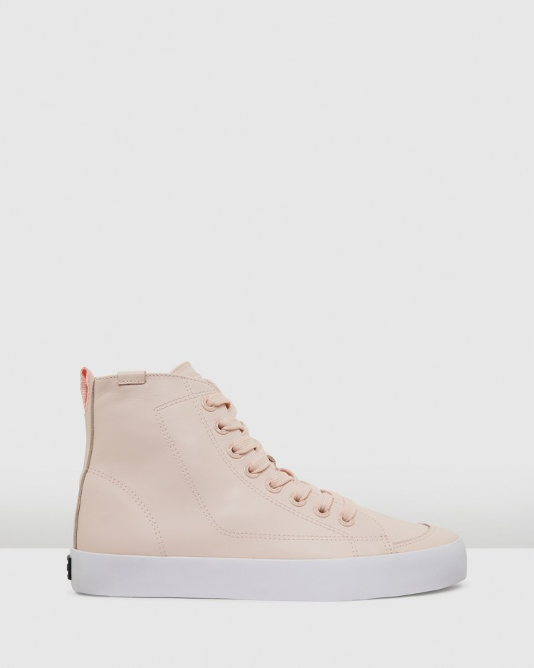 Volley Deuce Leather High Top Sneakers Blush Leather