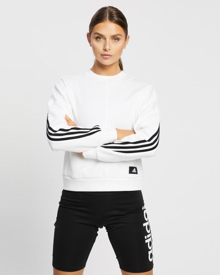 adidas Performance Wrapped 3 Stripes Sweatshirt Sweats White & Black 3-Stripes