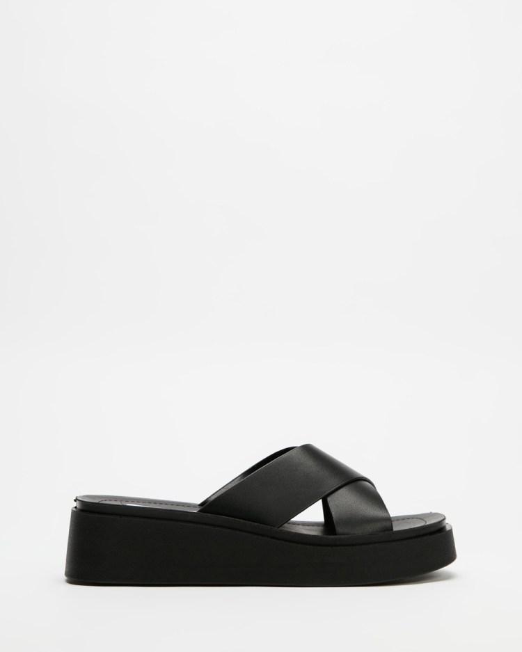 Steve Madden Esteem Sandals Black Leather