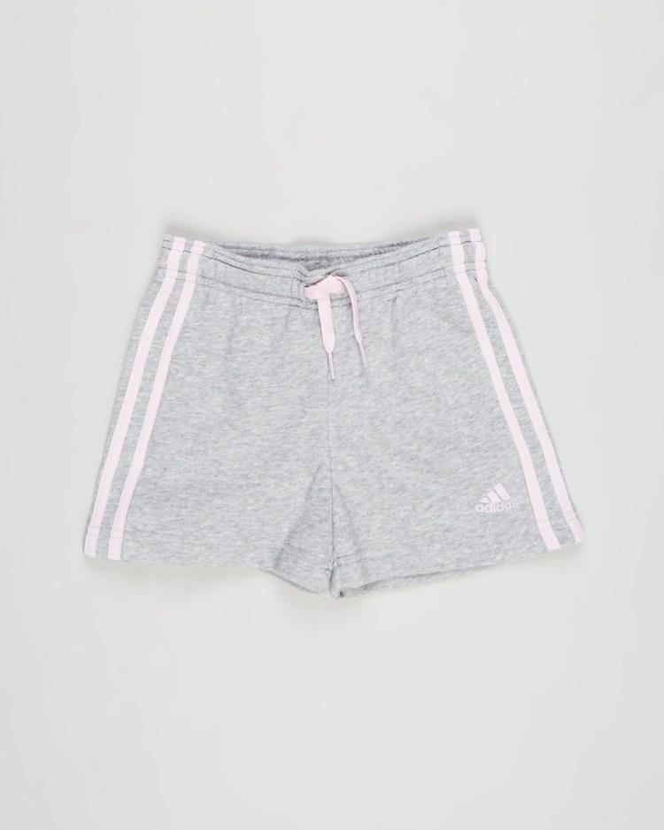 adidas Performance Essentials 3 Stripes Shorts Kids Teens Medium Grey Heather & Clear Pink 3-Stripes Kids-Teens