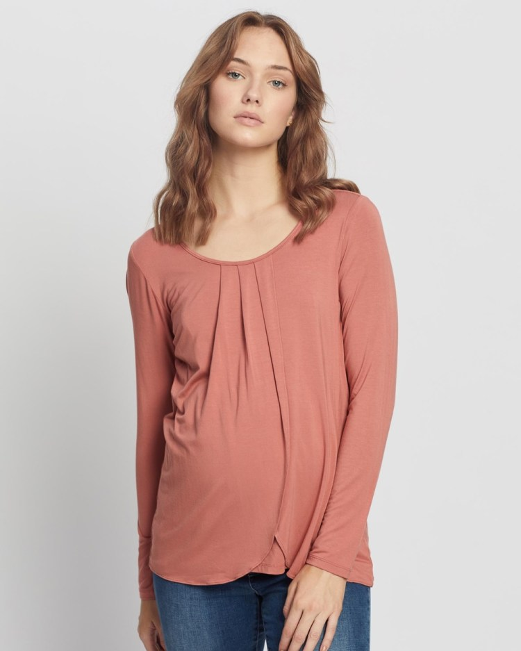 Angel Maternity Petal Front Long Sleeve Nursing Top T-Shirts & Singlets Coral