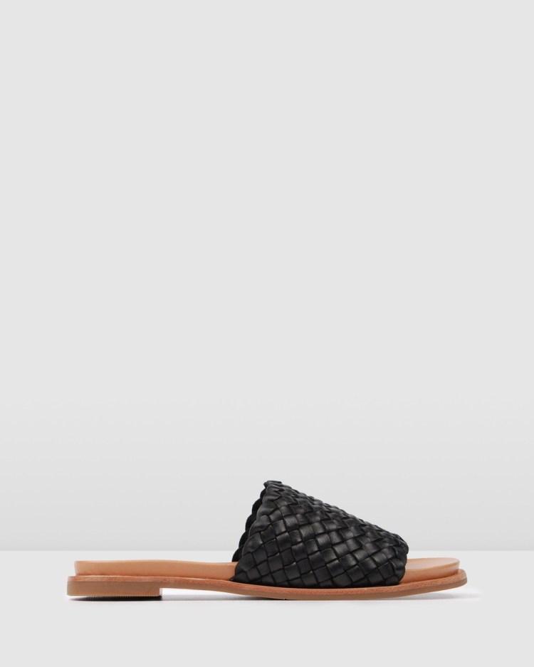 Jo Mercer Beau Flat Sandals BLACK LEATHER