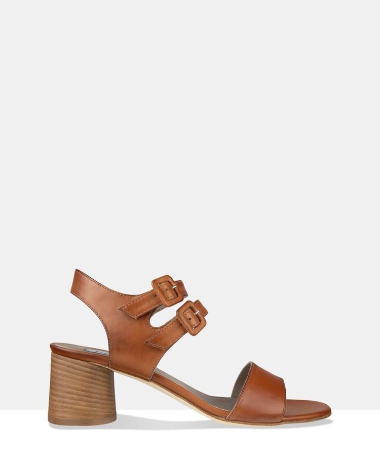 Habbot Rye Heeled Sandals Brown