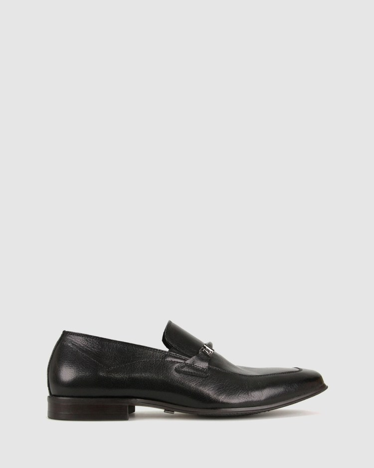 ZU Asher Leather Loafers Dress Shoes Black