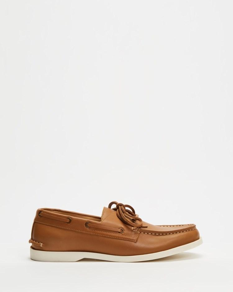 Double Oak Mills Harbourside Leather Deck Shoes Casual Tan