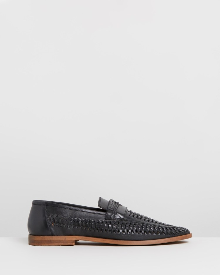 Staple Superior Molina Woven Leather Loafers Casual Shoes Black