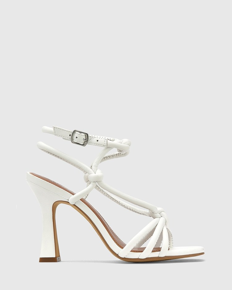 Wittner Roxanne Leather Flared Heel Strappy Sandals White