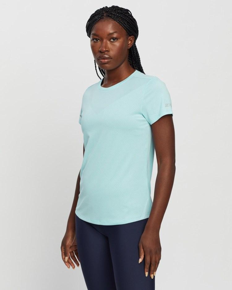 2XU Light Speed Tech Tee Short Sleeve T-Shirts Cloud Blue & Silver Reflective