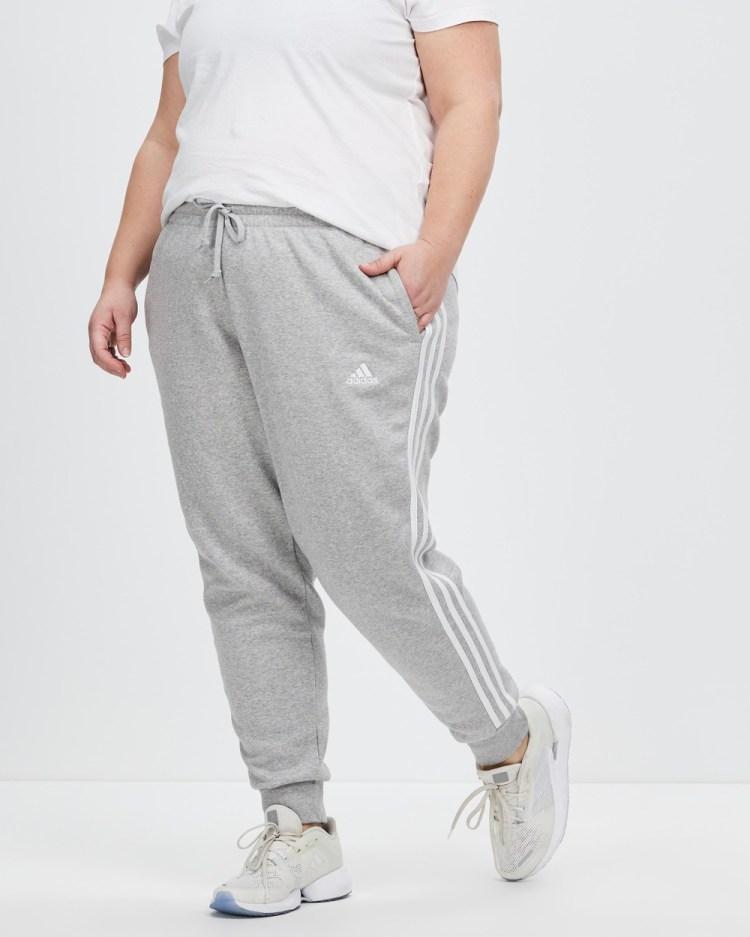 adidas Performance Essentials 3 Stripes Fleece Pants Track Medium Grey Heather & White 3-Stripes