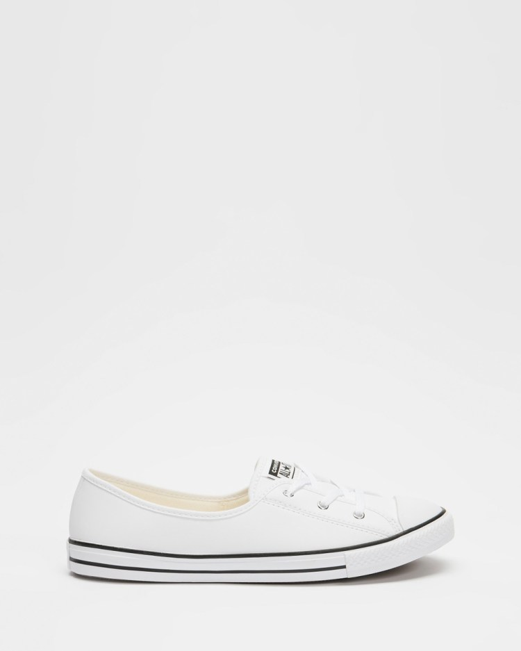 Converse Chuck Taylor All Star Ballet Lace Womens Slip-On Sneakers White & Black
