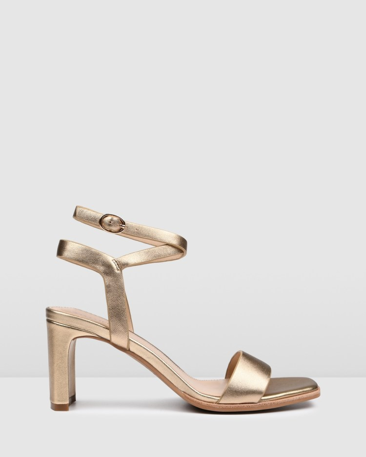 Jo Mercer Natsu Mid Heel Sandals All Pumps SOFT GOLD LEATHER
