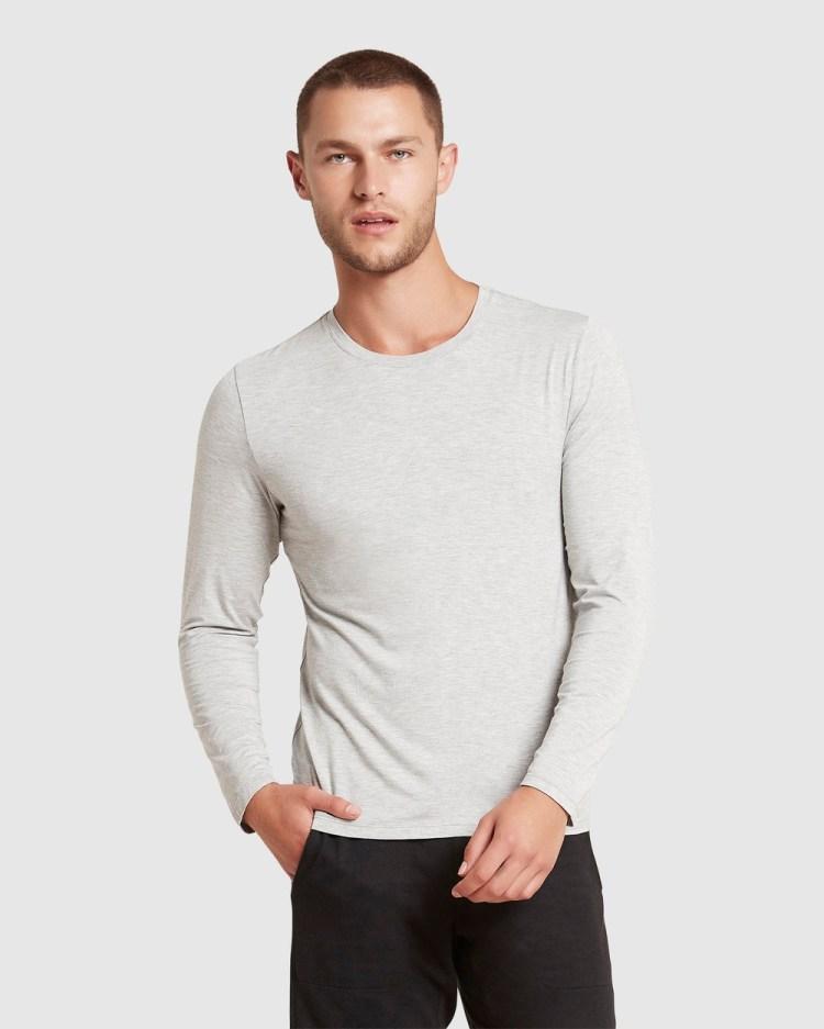 Boody Organic Bamboo Eco Wear Long Sleeve Crew Neck T Shirt T-Shirts Light Marl T-Shirt