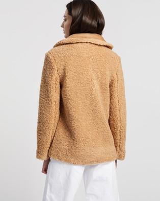 MINKPINK - Rylie Mix Teddy Coat - Coats & Jackets (Camel) Rylie Mix Teddy Coat
