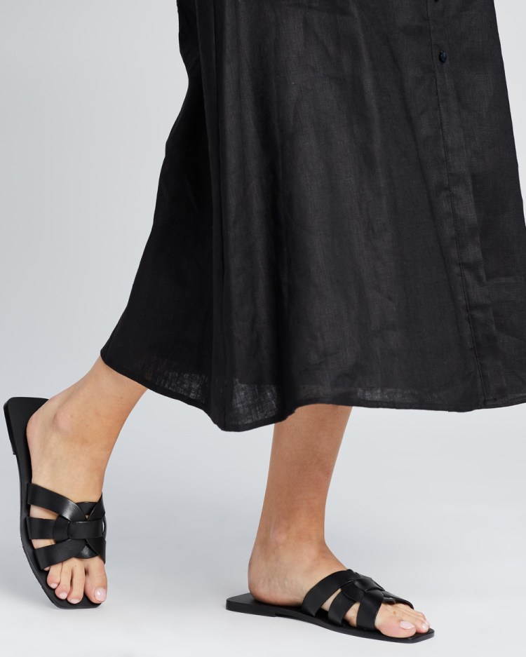 Atmos&Here Soleil Leather Sandals Black Leather