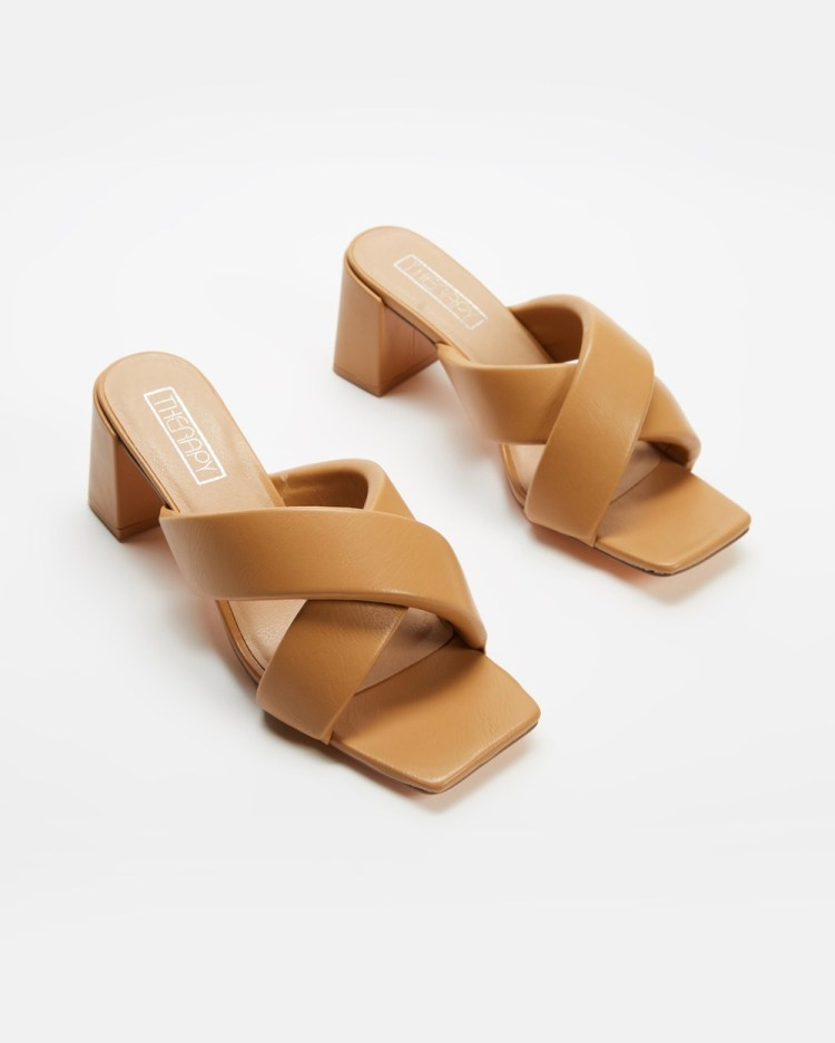 Therapy Mary Kate Heels Sandals Caramel PU