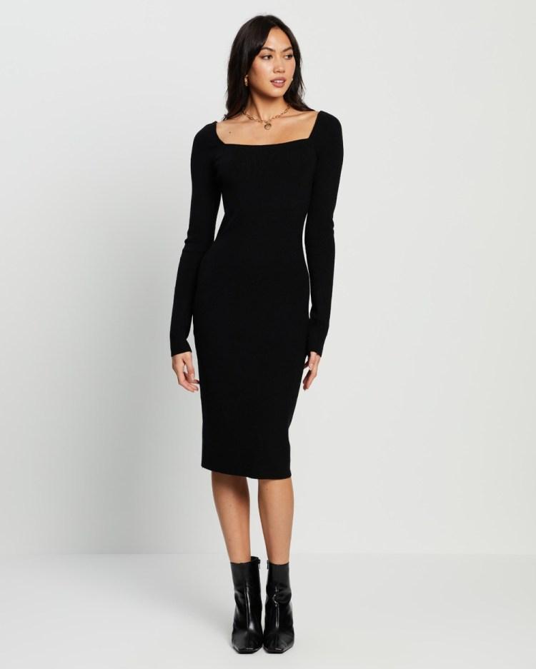 4th & Reckless Ayden Knit Midi Dress Bodycon Dresses Black