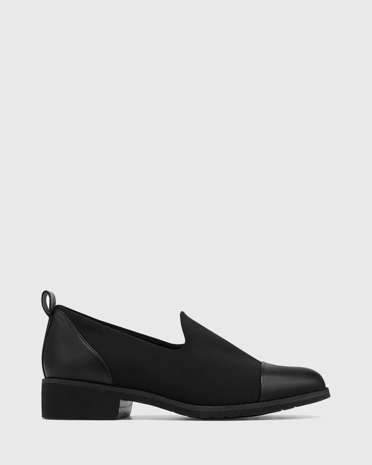 Wittner Jadya Leather and Neoprene Loafers Flats Black