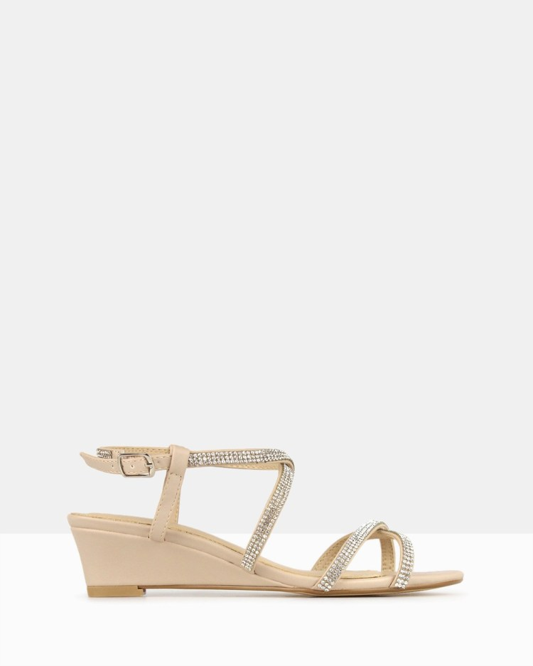 Betts Heart Bling Strap Low Wedges Nude