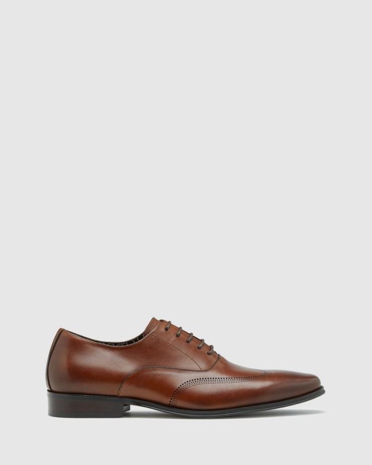 Oxford Stefan Leather Brogue Shoe Dress Shoes Brown