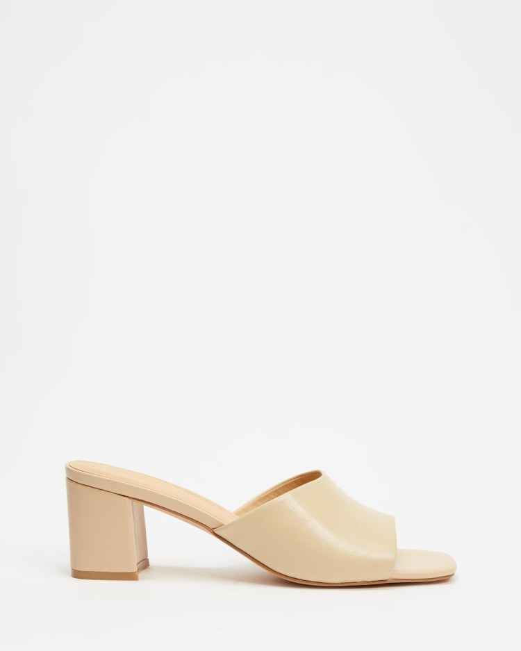 Atmos&Here Tina Leather Heels Sandals Camel Leather