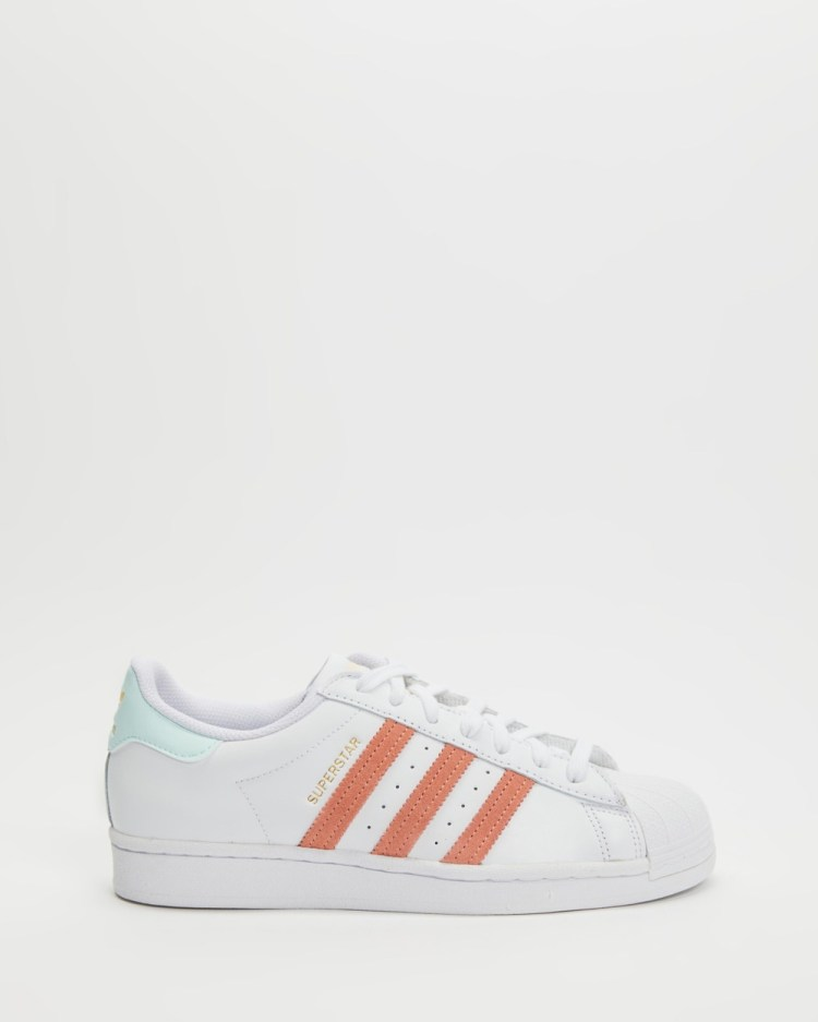 adidas Originals Superstar Shoes Womens Lifestyle Sneakers White, Ambient Blush & Pink Tint