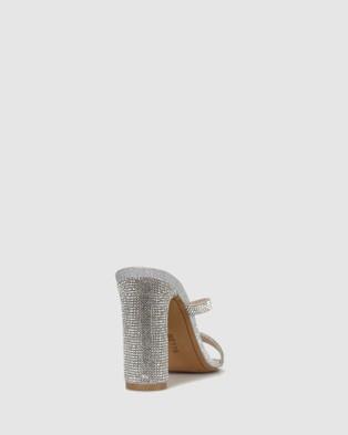 Betts Skyler Skinny Block Heel Mules Sandals Silver