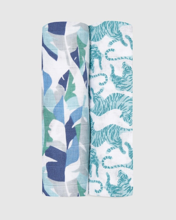 Aden & Anais 2 Pack Classic Swaddles Wraps Blankets Dancing Tigers 2-Pack