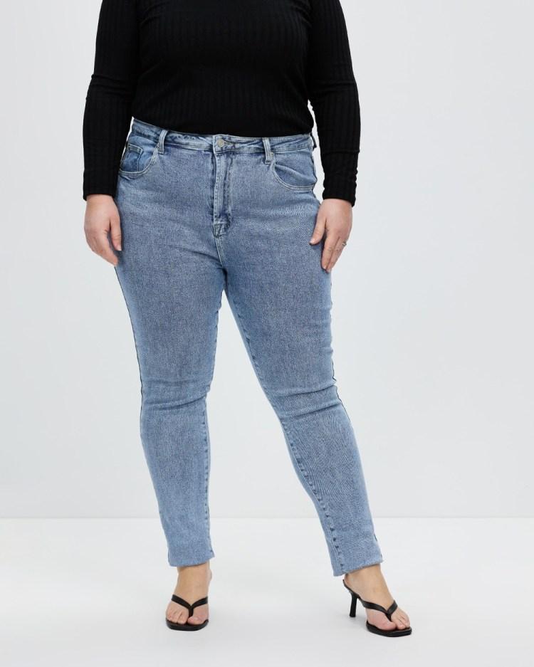 Missguided Curve Plus Premium Denim Slim Fit Mom Jeans Blue