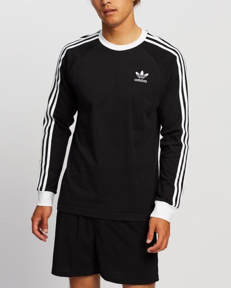 adidas Originals 3 Stripes LS T Shirt T-Shirts & Singlets Black 3-Stripes T-Shirt