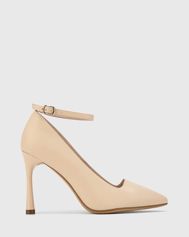 Wittner Halba Leather Ankle Strap Stiletto Pumps All Beige