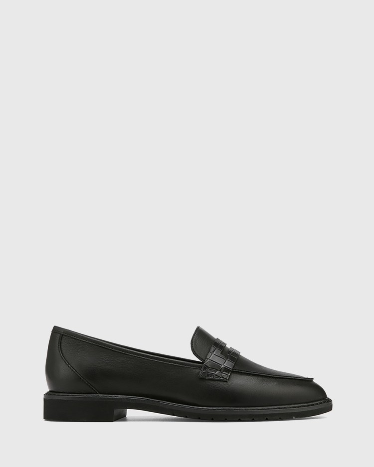 Wittner Espresso Leather Almond Toe Loafers Flats Black