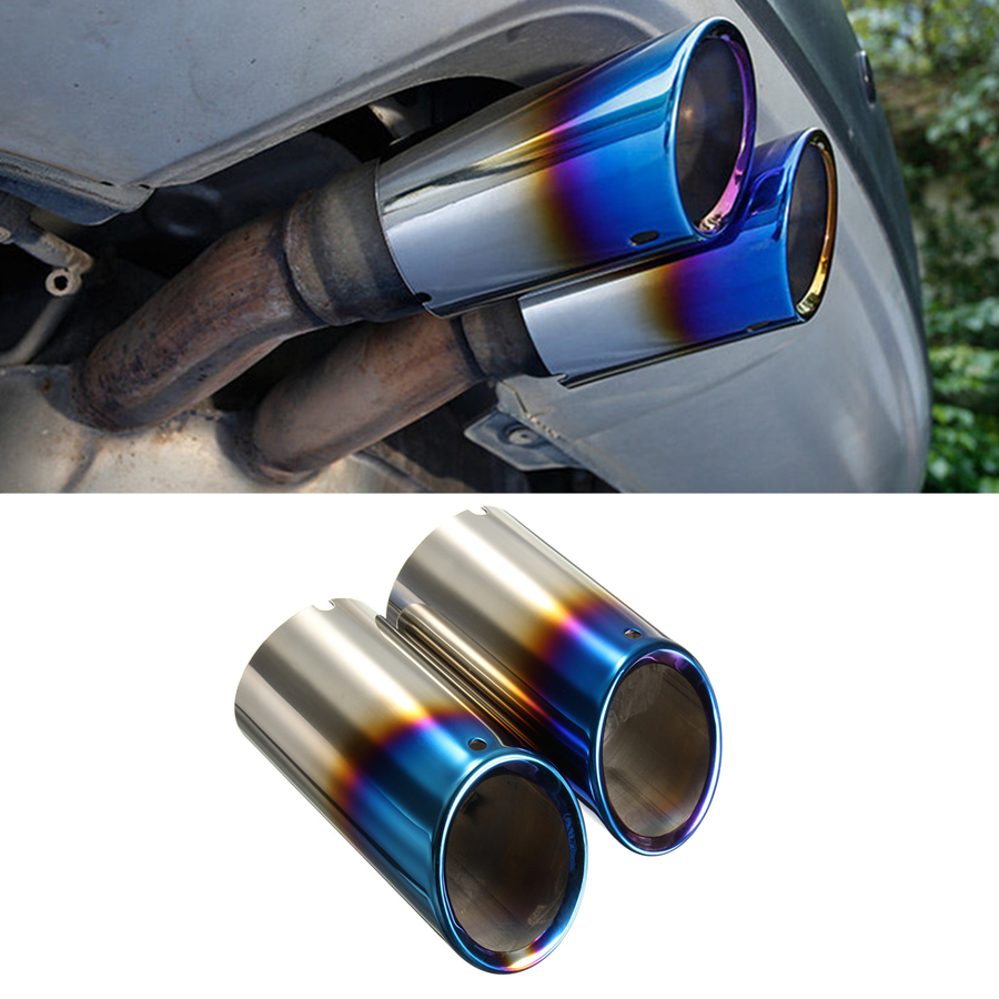 2x blue polished stainless car exhaust