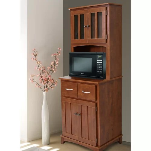 Microwave Carts Hutch Oak