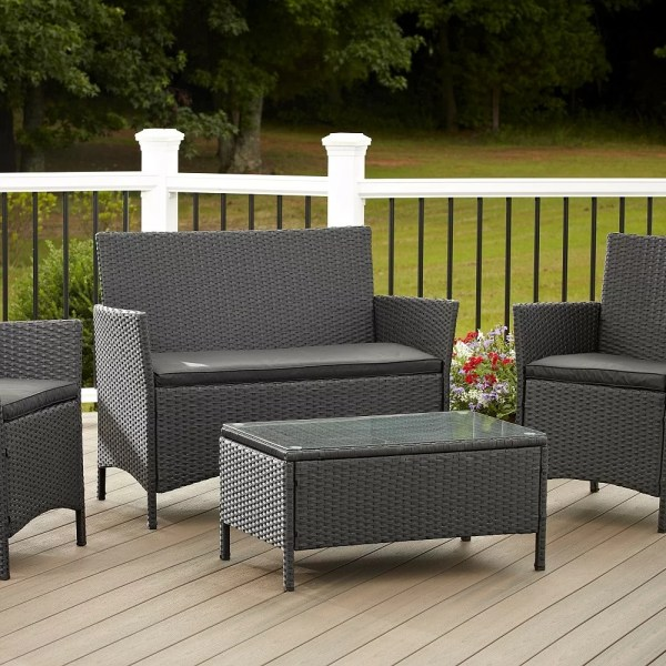 plastic outdoor patio furniture Outdoor 4 Piece Set Resin Wicker Patio Furniture Chair