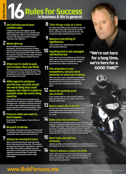 Bob Parsons® 16 Rules Poster