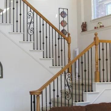 Baluster Store Iron Stair Railing Iron Balusters Stair Handrail | Wood Handrail With Iron Balusters | Ash Gray | Ole Iron | Upstairs | Wrought Iron | Low Profile