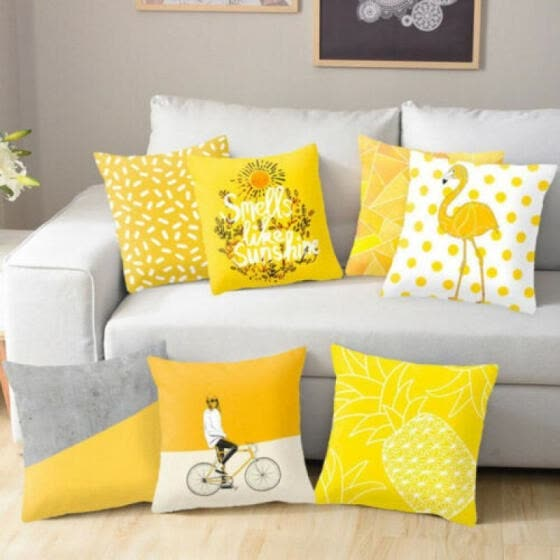shop throw decorative yellow pillow