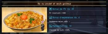 Final Fantasy XV riz au poulet et oeufs goûteux