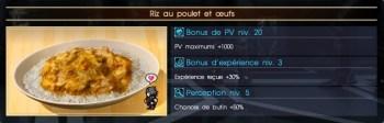 Final Fantasy XV riz au poulet et oeufs