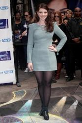 Michelle Trachtenberg leggy in pantyhose at Crest 3D White Collection launch in New York City - Hot Celebs Home