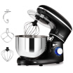 6 Speed 63 Qt Tilt-Head Stainless Steel Electric Food Stand Mixer-Black