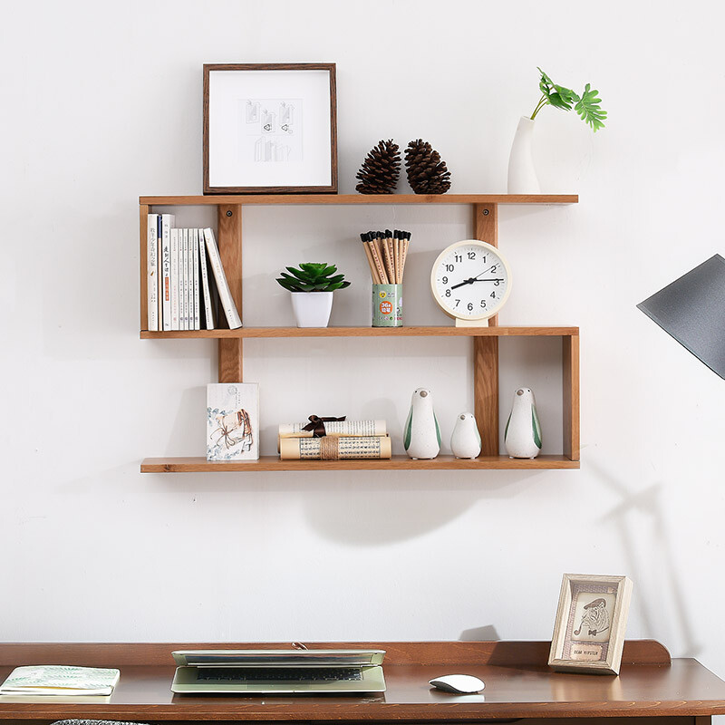 jiayi creative nordic solid wood wall hanging partition bedroom wall rack simple modern living room tv wall shelf wood color